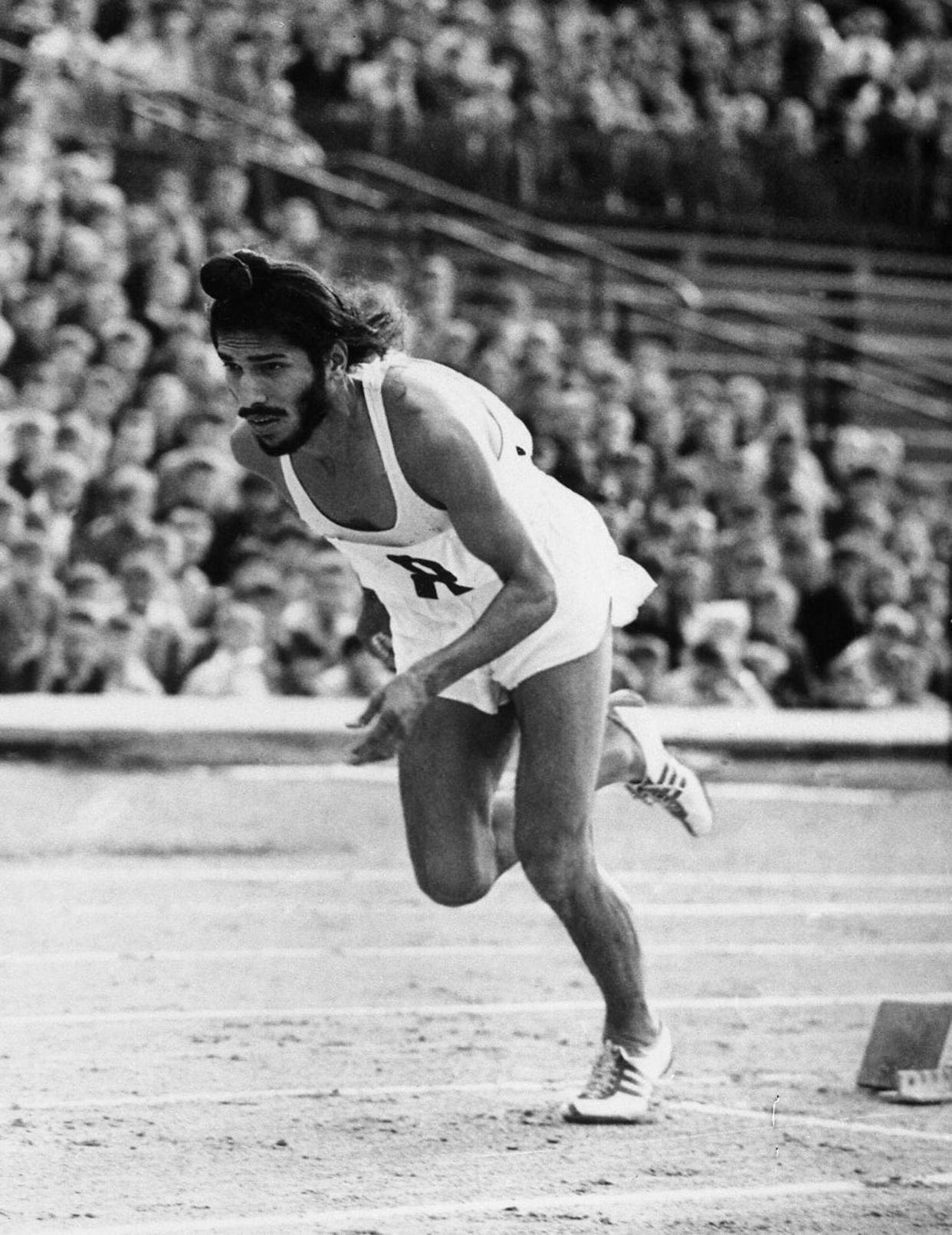 Milkha Singh, the famed Indian middle-distance runner starts the 400 metres race in the Janusz Kusocinski Memorial Track and Field MeetinG, in Warsaw, Poland, on June 20, 1961. (AP Photo)
