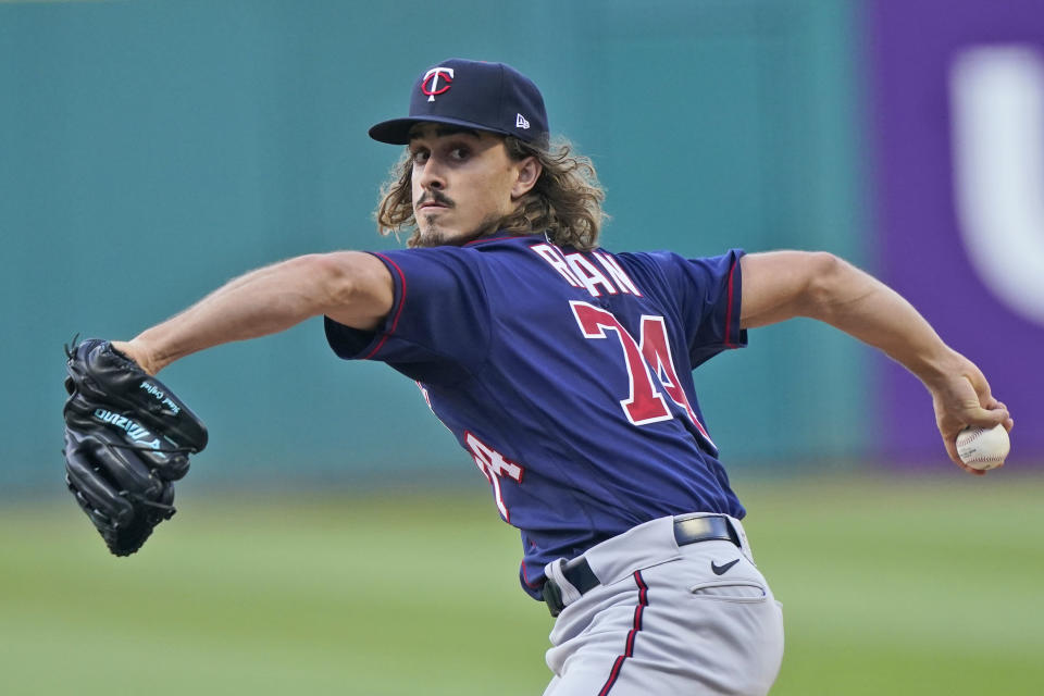 Minnesota Twins starting pitcher Joe Ryan delivers in the first inning of a baseball game against the Cleveland Indians, Wednesday, Sept. 8, 2021, in Cleveland. (AP Photo/Tony Dejak)