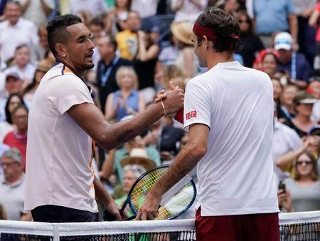 Sept 1, 2018; New York, NY, USA; Roger Federer of Switzerland after beating Nick Kyrgios of Australia in a third round match on day six of the 2018 U.S. Open tennis tournament at USTA Billie Jean King National Tennis Center. Mandatory Credit: Robert Deutsch-USA TODAY Sports