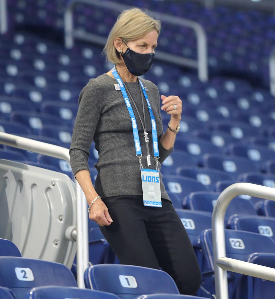 Lions owner Sheila Ford Hamp makes her way to the field before the game against the Saints on Sunday, Oct. 4, 2020, at Ford Field.