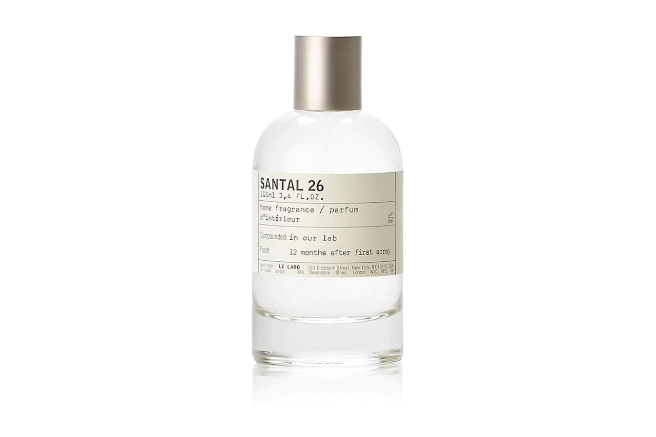 "$115, Barneys. <a href=""https://www.barneys.com/product/le-labo-santal-26-home-fragrance-505138025.html"">Get it now!</a>"