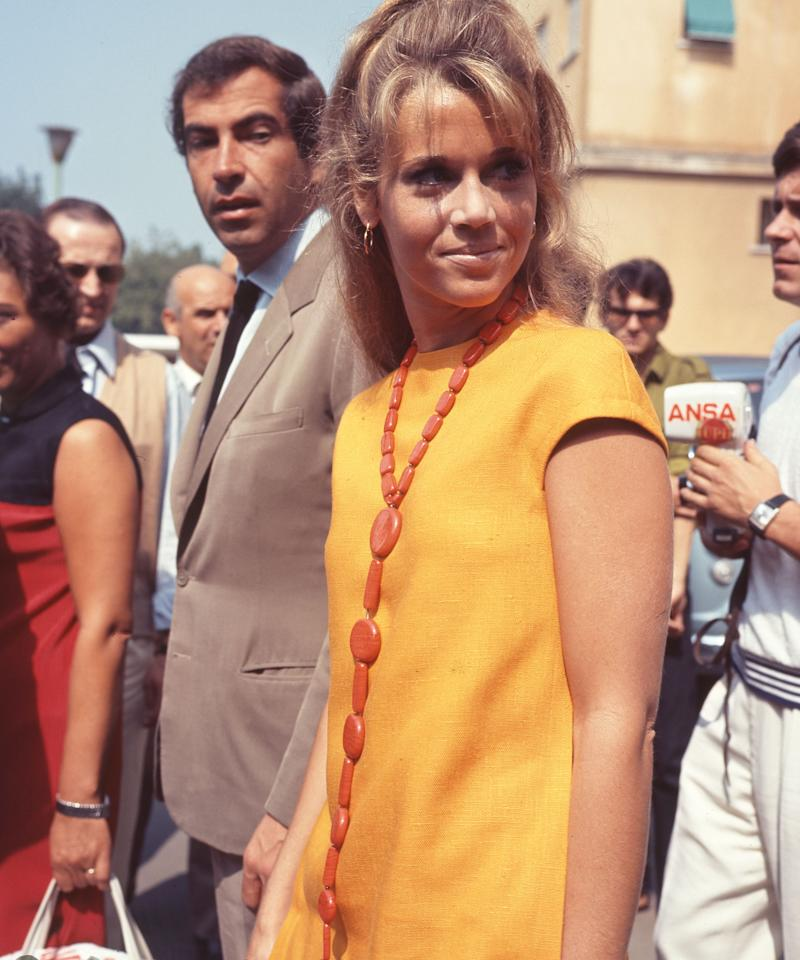 The actress, model, writer and political activist with her then-partner, French director Roger Vadim, at the 1966 Venice Film Festival.