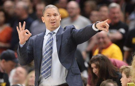 May 5, 2018; Cleveland, OH, USA; Cleveland Cavaliers head coach Tyronn Lue during the second half against the Toronto Raptors in game three of the second round of the 2018 NBA Playoffs at Quicken Loans Arena. Mandatory Credit: Ken Blaze-USA TODAY Sports