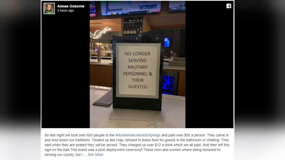 The sign preventing military personnel from accessing the hotel bar. (Photo: Aimee Osbourne via Facebook/KOAA News 5)