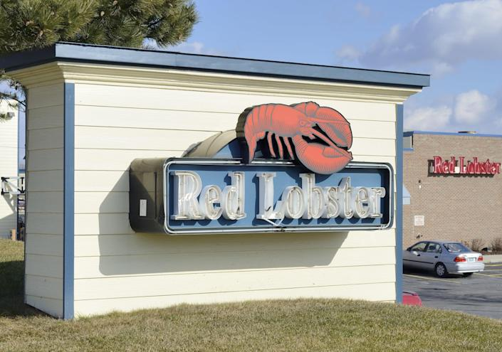 The Red Lobster sign outside of a Red Lobster location