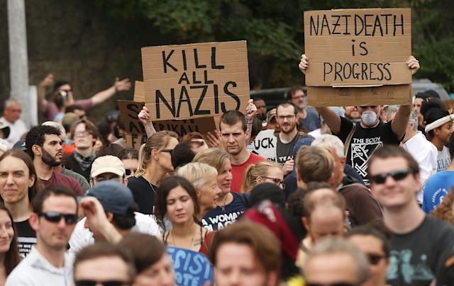 <p>Thousands of protesters prepare to march in Boston against a planned 'Free Speech Rally' just one week after the violent 'Unite the Right' rally in Virginia left one woman dead and dozens more injured on August 19, 2017 in Boston. (Photo: Spencer Platt/Getty Images) </p>