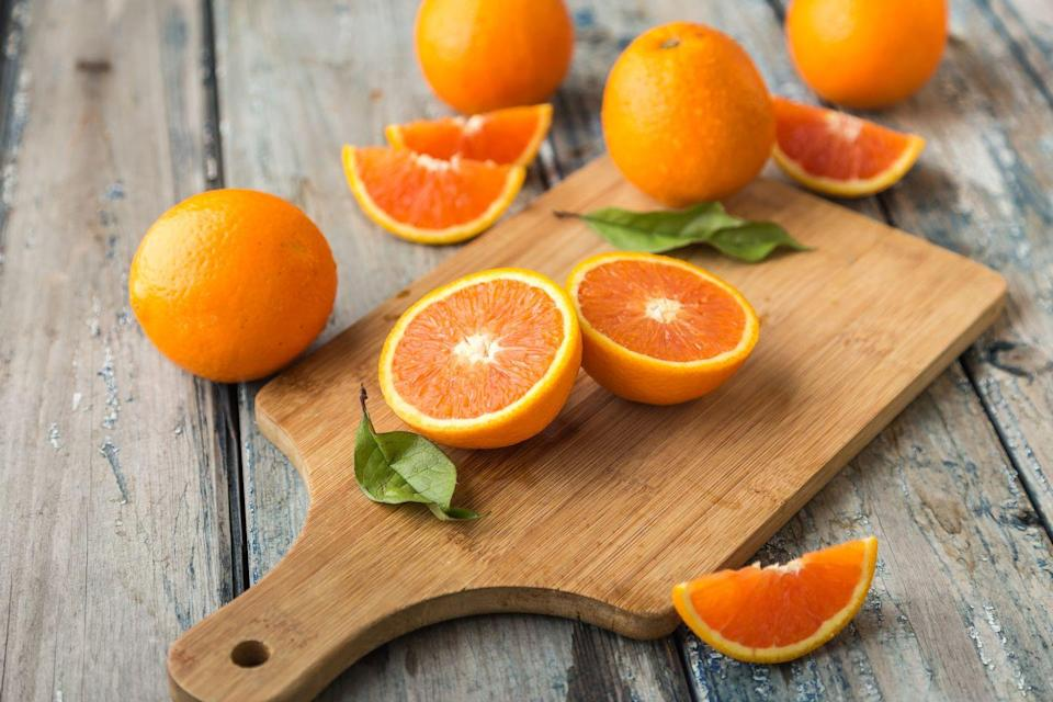 <p>Loaded with vitamin C, oranges are also solid sources of folate—important for cell maintenance and repair. They contain potassium and vitamins B1 and A, which are essential for vision and immune function. And the pectin in oranges absorbs unhealthy cholesterol from the other foods you eat.</p>
