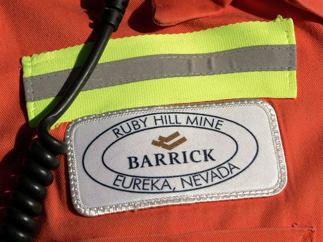 In this Feb. 14, 2006 file photo,the chest patch of a Barrick's worker is pictured in Eureka, Nev. THE CANADIAN PRESS/AP, Douglas C. Pizac