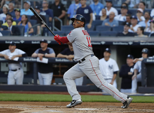 Boston Red Sox's Rafael Devers has seen his fantasy stock rise recently (AP Photo).