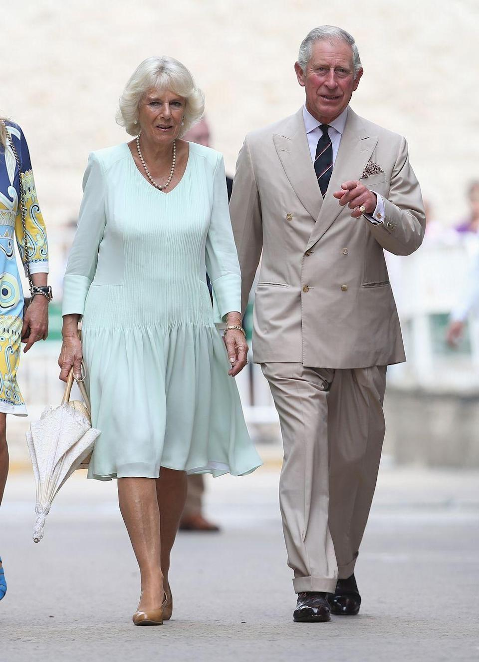 <p>As part of the Royal Tour of Columbia and Mexico, Camilla sported this light blue long-sleeved day dress in Cartagena, Colombia</p>