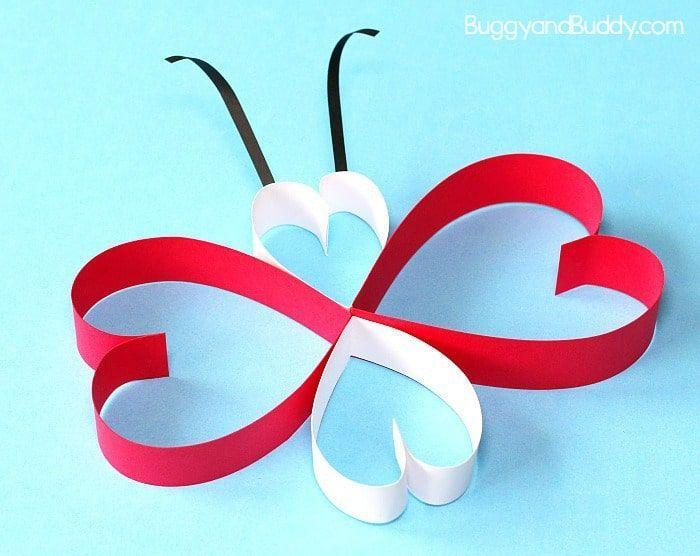 """<p>This eye-catching craft is as simple as can be: You just need paper strips and glue sticks to fashion heart-shaped wings and butterfly bodies. And don't forget the antennae!</p><p><em><a href=""""https://buggyandbuddy.com/paper-heart-butterfly-craft/"""" rel=""""nofollow noopener"""" target=""""_blank"""" data-ylk=""""slk:Get the how-to at Buggy and Buddy»"""" class=""""link rapid-noclick-resp"""">Get the how-to at Buggy and Buddy»</a></em><br></p>"""