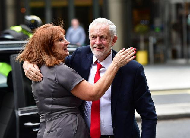 Jeremy Corbyn congratulated by chief of staff Karie Murphy after the 2017 election