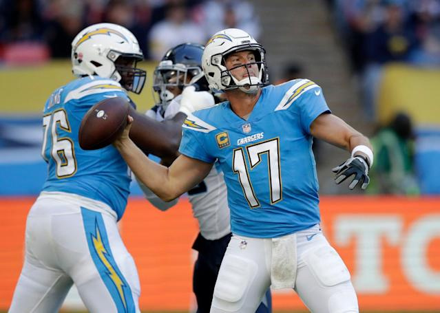 Philip Rivers has worn the powder blue a few times in his career. (AP Photo/Matt Dunham, File)