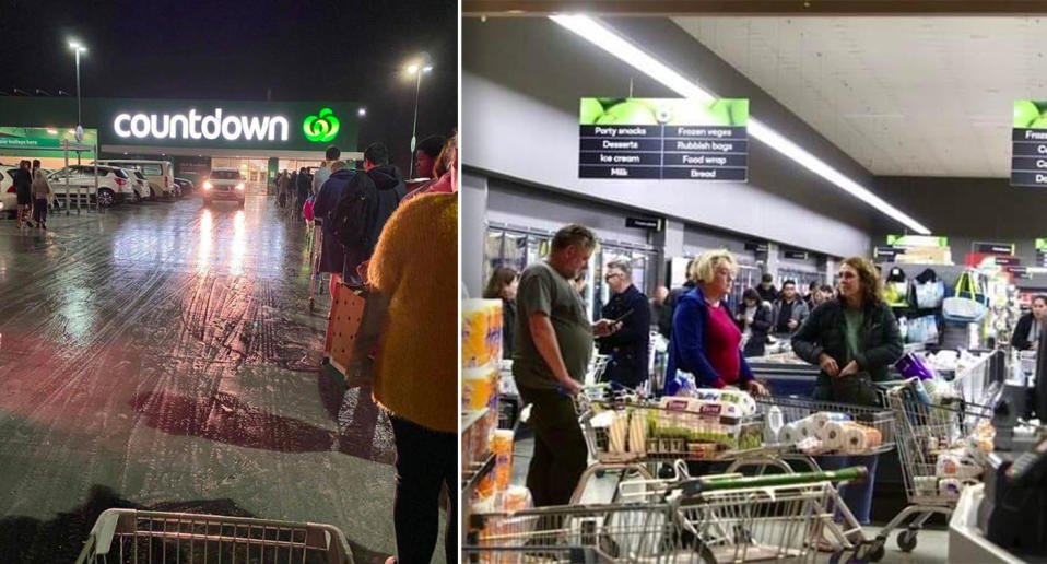 Hundreds of shoppers line up outside Countdown supermarket in Auckland, New Zealand as Stage Three restrictions loom.