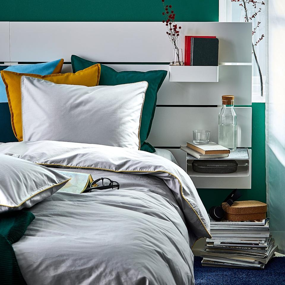"""<p>Densely woven from fine yarn, the <a href=""""https://www.popsugar.com/buy/Kungsblomma-Duvet-Cover-Pillowcases-508379?p_name=Kungsblomma%20Duvet%20Cover%20and%20Pillowcases&retailer=ikea.com&pid=508379&price=30&evar1=casa%3Aus&evar9=36179434&evar98=https%3A%2F%2Fwww.popsugar.com%2Fhome%2Fphoto-gallery%2F36179434%2Fimage%2F46823864%2FKungsblomma-Duvet-Cover-Pillowcases&list1=shopping%2Cgifts%2Choliday%2Cgift%20guide%2Cikea%2Cdecor%20shopping%2Choliday%20living%2Cdecor%20gifts&prop13=mobile&pdata=1"""" rel=""""nofollow"""" data-shoppable-link=""""1"""" target=""""_blank"""" class=""""ga-track"""" data-ga-category=""""Related"""" data-ga-label=""""https://www.ikea.com/us/en/p/kungsblomma-duvet-cover-and-pillowcase-s-gray-yellow-50423139/"""" data-ga-action=""""In-Line Links"""">Kungsblomma Duvet Cover and Pillowcases</a> ($30) are soft to the touch.</p>"""