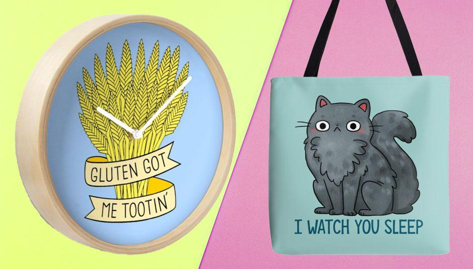 Hilarious things to wear, carry and use in the home — Redbubble's got it all. (Photo: Redbubble/Getty)