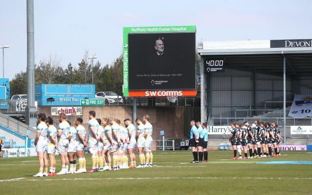 Exeter Chiefs and Wasps players stood for a minutes silence prior to kick off in memory