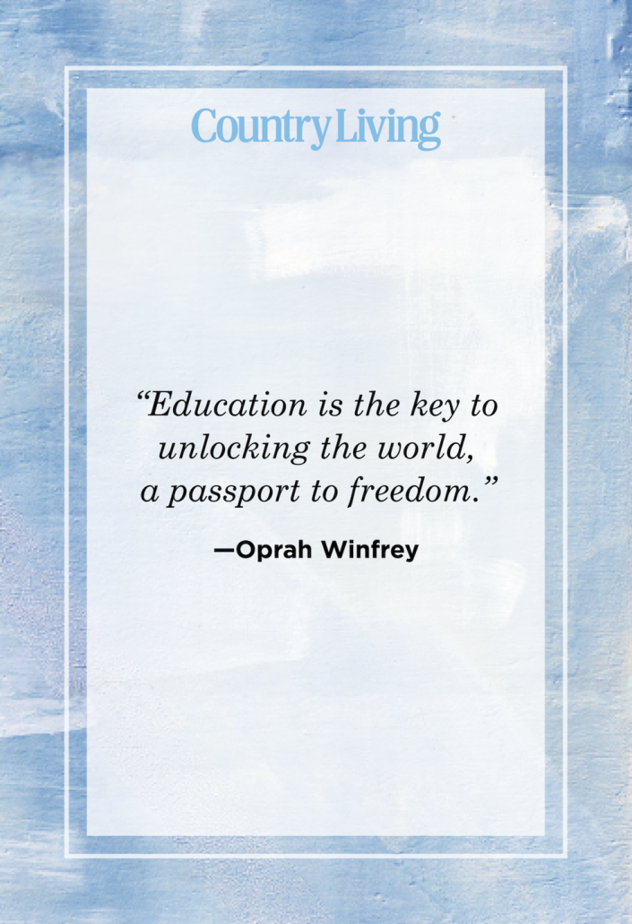 """<p>""""Education is the key to unlocking the world, a passport to freedom.""""</p>"""