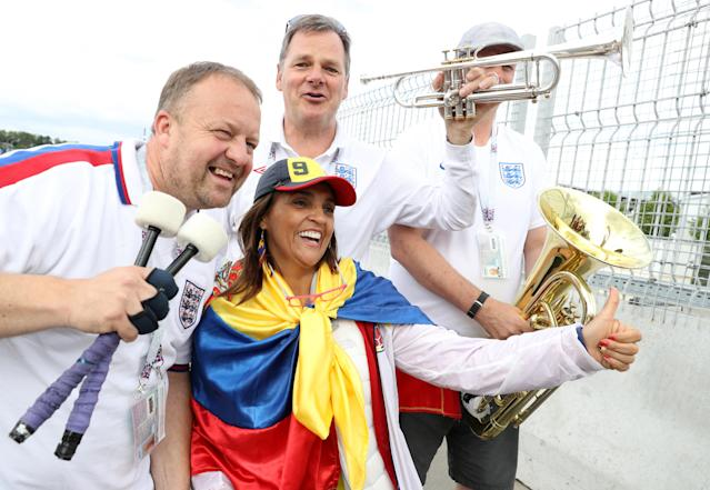 <p>England and Colombia fans show their support prior to the FIFA World Cup 2018, round of 16 match at the Spartak Stadium, Moscow. (Photo by Owen Humphreys/PA Images via Getty Images) </p>