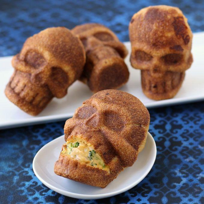 """<p>Pizza crust filled with good stuff (and baked in skull pans!) creates these incredibly fun main dishes in individual servings.</p><p><a class=""""link rapid-noclick-resp"""" href=""""https://hungryhappenings.com/halloween-dinner-cheesy-broccoli-and-chicken-stuffed-skulls/"""" rel=""""nofollow noopener"""" target=""""_blank"""" data-ylk=""""slk:GET THE RECIPE"""">GET THE RECIPE</a> </p>"""
