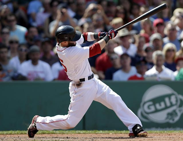 Boston Red Sox's Dustin Pedroia hits an RBI double off a pitch by Arizona Diamondbacks pitcher Brandon McCarthy in the fifth inning of a baseball game at Fenway Park in Boston, Sunday, Aug. 4, 2013. Boston Red Sox's Brock Holt scored on the play. (AP Photo/Steven Senne)