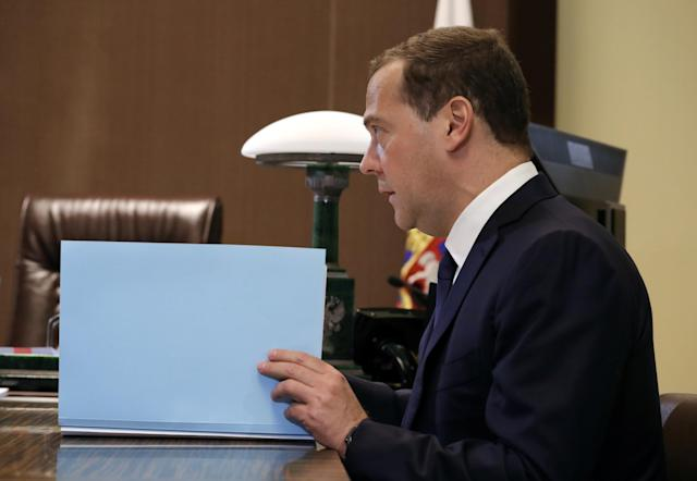 Russian Prime Minister Dmitry Medvedev attends a meeting with President Vladimir Putin in the Black Sea resort of Sochi, Russia May 18, 2018. Sputnik/Mikhail Klimentyev/Kremlin via REUTERS ATTENTION EDITORS - THIS IMAGE WAS PROVIDED BY A THIRD PARTY.