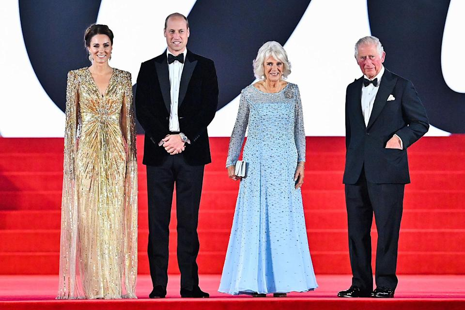 """<p>The new James Bond film <em>No Time to Die</em> had <a href=""""https://people.com/royals/james-bond-no-time-to-die-london-premiere-kate-middleton-prince-william-prince-charles-camilla-duchess-of-cornwall/"""" rel=""""nofollow noopener"""" target=""""_blank"""" data-ylk=""""slk:its world premiere"""" class=""""link rapid-noclick-resp"""">its world premiere</a> in London on Sept. 28, and among the VIPs on the <a href=""""https://people.com/movies/no-time-to-die-world-premiere-red-carpet-arrivals-photos/"""" rel=""""nofollow noopener"""" target=""""_blank"""" data-ylk=""""slk:lengthy guest list"""" class=""""link rapid-noclick-resp"""">lengthy guest list</a> were Kate Middleton, Prince William, Camilla, Duchess of Cornwall and Prince Charles, having one of their first glamorous outings together since the start of the COVID-19 pandemic. </p>"""