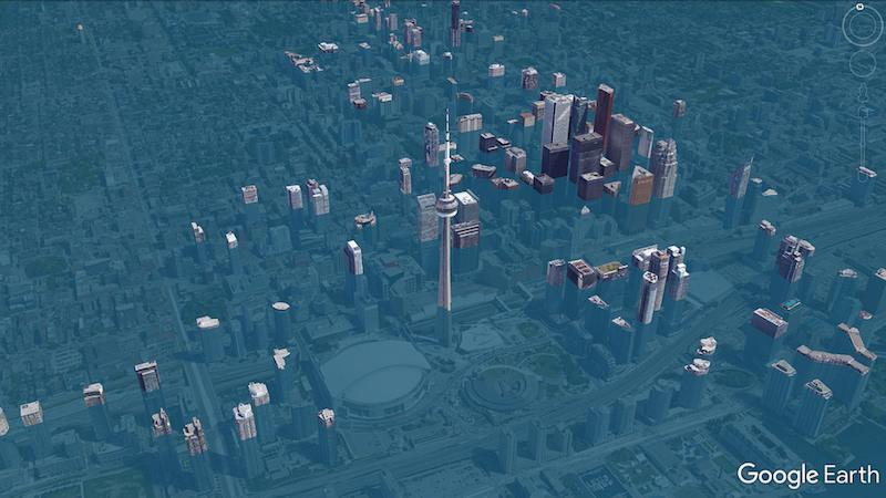 This computer-generated flood simulation shows Toronto with the Rogers Centre under water. Photo from Scott Sutherland/Google.