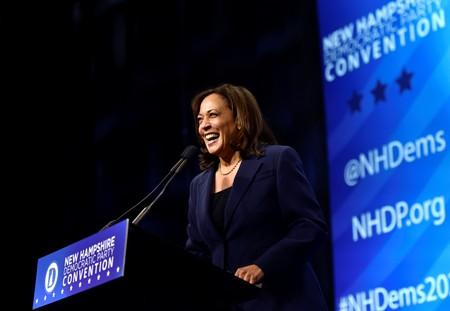 Democratic 2020 U.S. presidential candidate and U.S. Senator Kamala Harris (D-CA) takes the stage at the New Hampshire Democratic Party state convention in Manchester