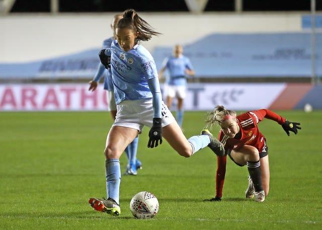 Weir's superb effort for Manchester City against Manchester United was among eight WSL goals she scored in 2020-21 (Tim Goode/PA).