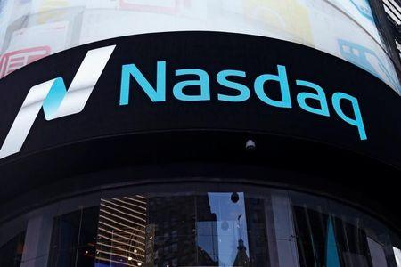 A view of the exterior of the Nasdaq market site in the Manhattan borough of New York City