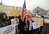 <p>CASA de Maryland, an immigration advocacy and assistance organization, holds a rally in Lafayette Park, across from the White House in Washington, Monday, Jan. 8, 2018, in reaction to the announcement regarding Temporary Protective Status for people from El Salvador. (Photo: Pablo Martinez Monsivais/AP) </p>