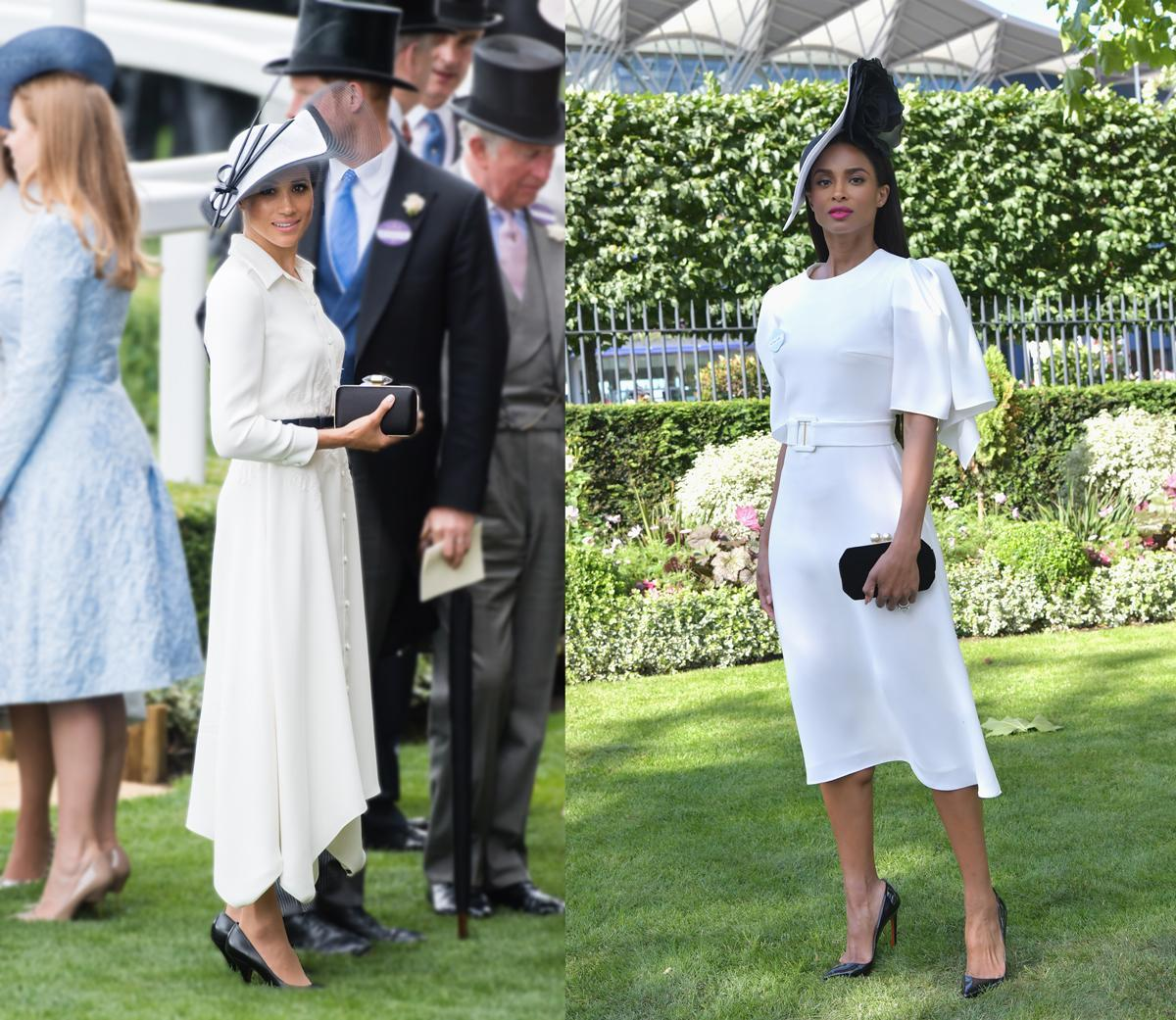 Meghan wore Givenchy, while Ciara opted for Edeline Lee. (Photo: Getty Images)