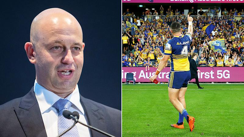 Pictured here, NRL CEO Todd Greenberg and fans at a Parramatta Eels match.