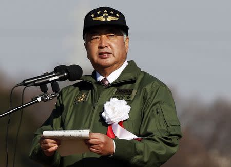 Japan's Defence Minister Nakatani speaks during an annual new year military exercise by the Japanese Ground Self-Defense Force 1st Airborne Brigade at Narashino exercise field in Funabashi