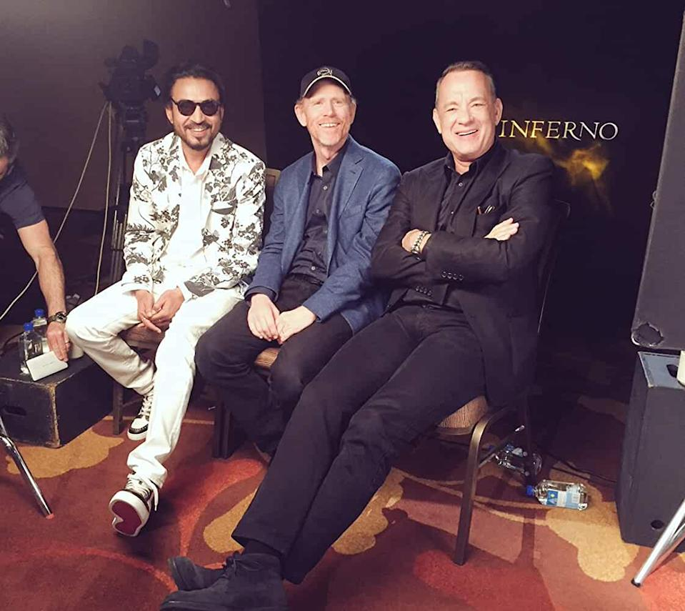Irrfan with his co-star Tom Hanks during promotions of 'Inferno'.