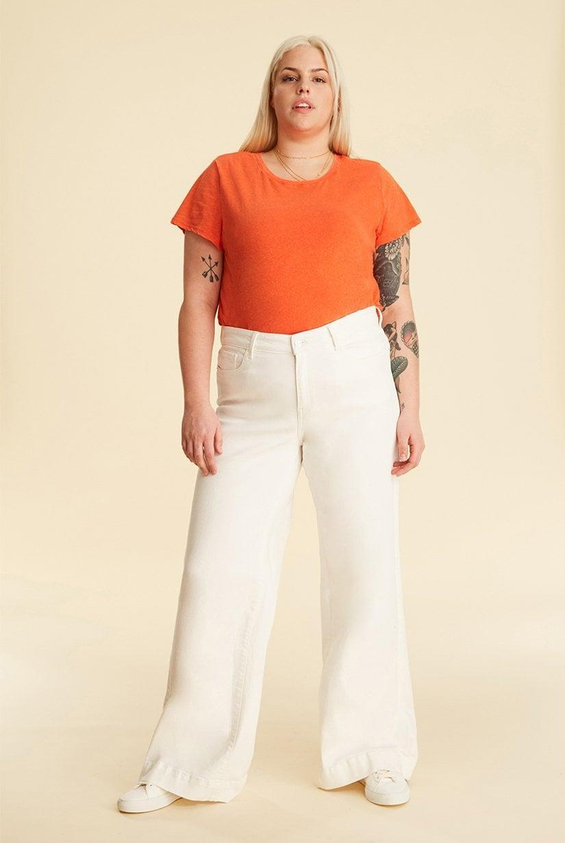 """<p>The <span>Warp and Weft NCE Plus Wide Leg in White</span> ($58, originally $98) is described as """"gently sculpted,"""" and one customer left the note that they receive compliments every time they wear them.</p>"""