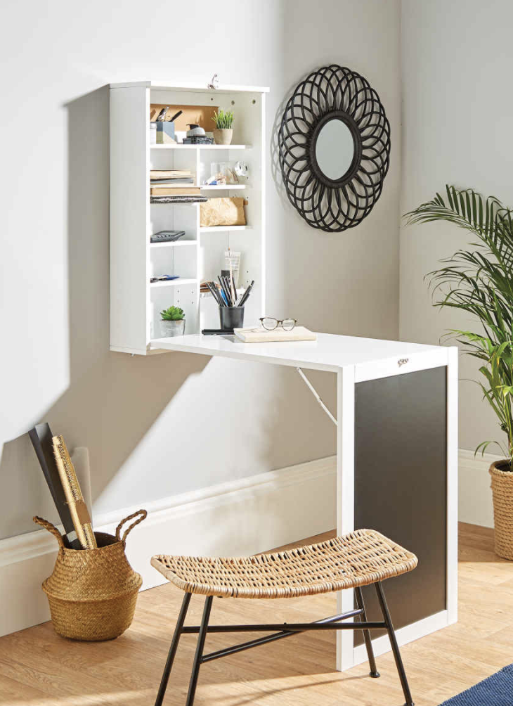 Aldi's Compact Living Desk not only is a desk, but also has storage shelves and a chalk board. (Aldi)