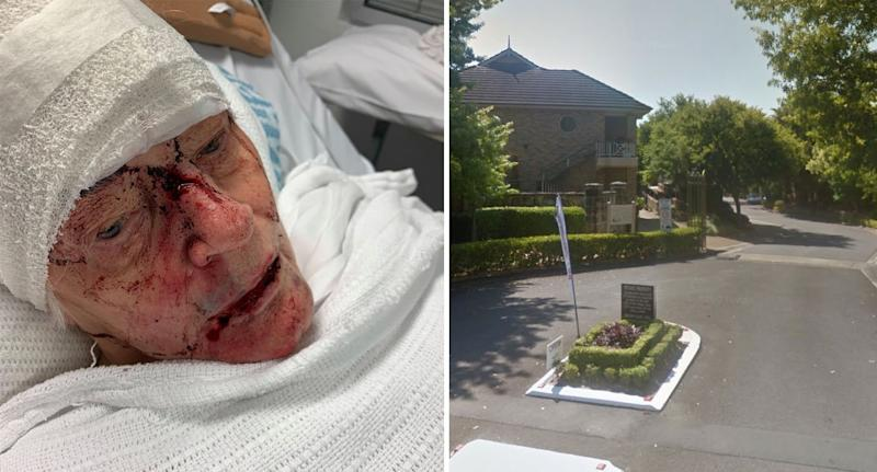 Patricia was left badly injured (left) following the attack at her retirement village (right). Source: NSW Police/ Google Maps