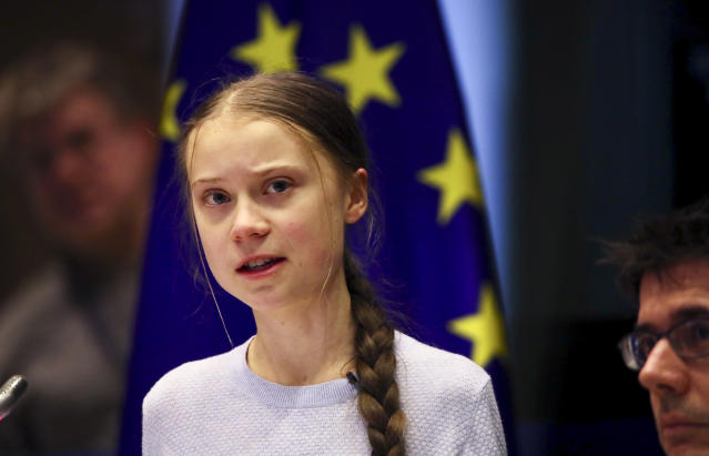 Swedish climate activist Greta Thunberg addresses a meeting of the Environment Council at the European Parliament in Brussels. (AP)