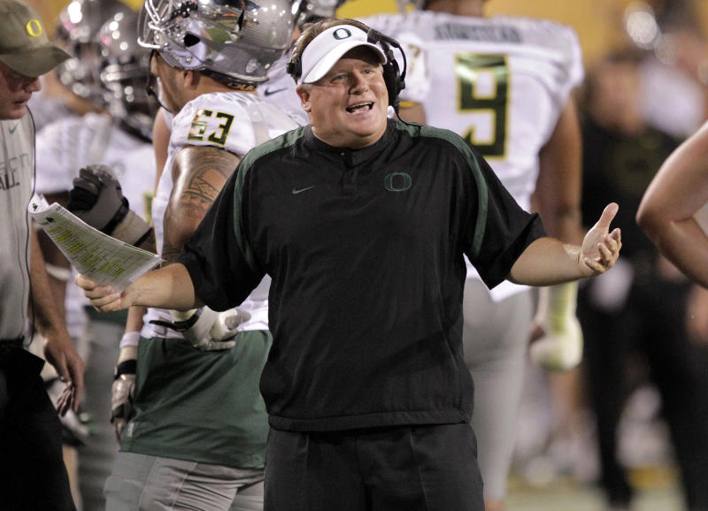 Oregon coach Chip Kelly looks to the officials during the first half of an NCAA college football game against Arizona State, Thursday, Oct. 18, 2012, in Tempe, Ariz. (AP Photo/Matt York)