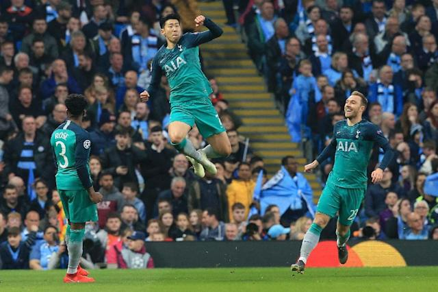Son Heung-min (centre) scored three of Tottenham's four Champions League quarter-final goals against Manchester City (AFP Photo/Lindsey PARNABY)