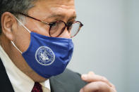 U.S. Attorney General William Barr listens during a tour Georgia Center for Child Advocacy on Monday, Sept. 21, 2020, in Atlanta. (AP Photo/Brynn Anderson)