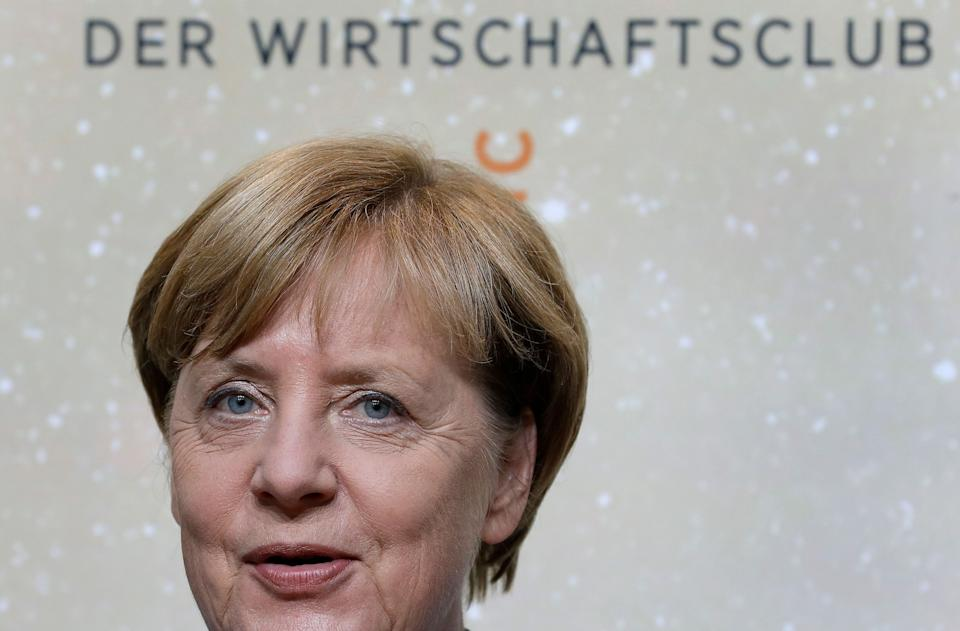 German Chancellor Angela Merkel smiles as she arrives for the 'Deutschland Live' (Germany Live) event organized by the economy news paper 'Handelsblatt' in Berlin, Germany,on August 23, 2017.  / AFP PHOTO / POOL / Michael Sohn        (Photo credit should read MICHAEL SOHN/AFP via Getty Images) (Photo: AFP Contributor via Getty Images)