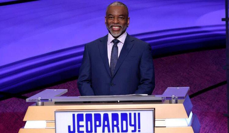 """This image provided by Jeopardy Productions, Inc. shows """"Jeopardy!"""" guest host LeVar Burton on the set of the game show"""