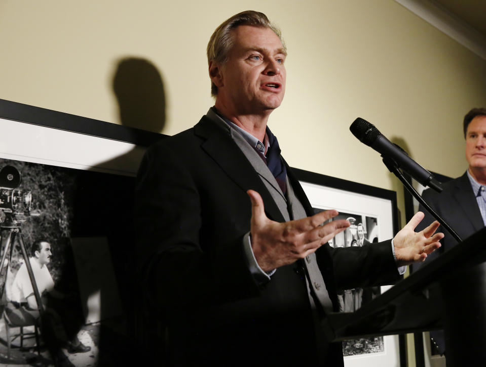 LOS ANGELES, CALIFORNIA - JANUARY 29: Christopher Nolan speaks onstage during the Fourth Annual Kodak Film Awards at ASC Clubhouse on January 29, 2020 in Los Angeles, California. (Photo by Rachel Murray/Getty Images for Kodak)