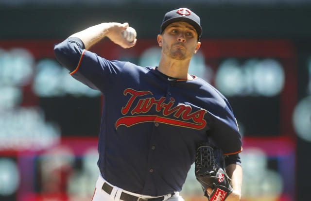 Minnesota Twins pitcher Jake Odorizzi throws against the Los Angeles Angels in a baseball game Wednesday, May 15, 2019, in Minneapolis. (AP Photo/Jim Mone)