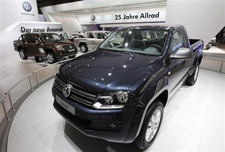 The new 'Amarok' vehicle is displayed at the Volkswagen exhibition area during a preview day at the IAA commercial vehicles trade fair in Hanover September 21, 2010. REUTERS/Christian Charisius