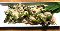 """<p>This recipe is springtime in a dish when fresh asparagus <a href=""""https://www.thedailymeal.com/what-are-ramps?referrer=yahoo&category=beauty_food&include_utm=1&utm_medium=referral&utm_source=yahoo&utm_campaign=feed"""" rel=""""nofollow noopener"""" target=""""_blank"""" data-ylk=""""slk:and ramps"""" class=""""link rapid-noclick-resp"""">and ramps</a> are at their peak. Take real advantage of <a href=""""https://www.thedailymeal.com/cook/spring-foods-in-season?referrer=yahoo&category=beauty_food&include_utm=1&utm_medium=referral&utm_source=yahoo&utm_campaign=feed"""" rel=""""nofollow noopener"""" target=""""_blank"""" data-ylk=""""slk:springtime's bounty"""" class=""""link rapid-noclick-resp"""">springtime's bounty</a> by adding in morel mushrooms. If you can't find ramps, that's OK, just swap in scallion greens or chives.</p> <p><a href=""""https://www.thedailymeal.com/recipes/ramp-asparagus-risotto?referrer=yahoo&category=beauty_food&include_utm=1&utm_medium=referral&utm_source=yahoo&utm_campaign=feed"""" rel=""""nofollow noopener"""" target=""""_blank"""" data-ylk=""""slk:For the Spring Risotto with Ramps and Asparagus recipe, click here."""" class=""""link rapid-noclick-resp"""">For the Spring Risotto with Ramps and Asparagus recipe, click here.</a></p>"""