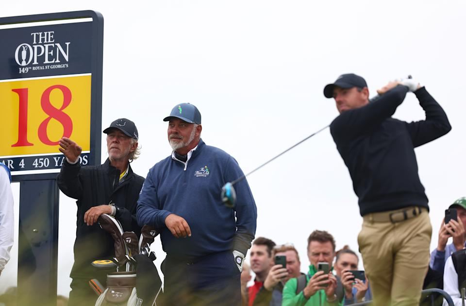 Darren Clarke and Rory McIlroy are among the notable names teeing off Thursday at the Open Championship. (Photo by Charlie Crowhurst/R&A/R&A via Getty Images)